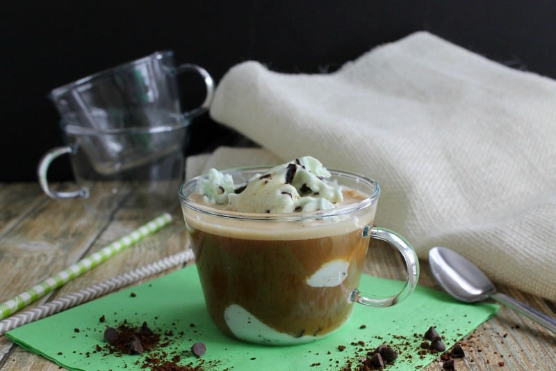 Mint Chocolate Chip Affogato on green background