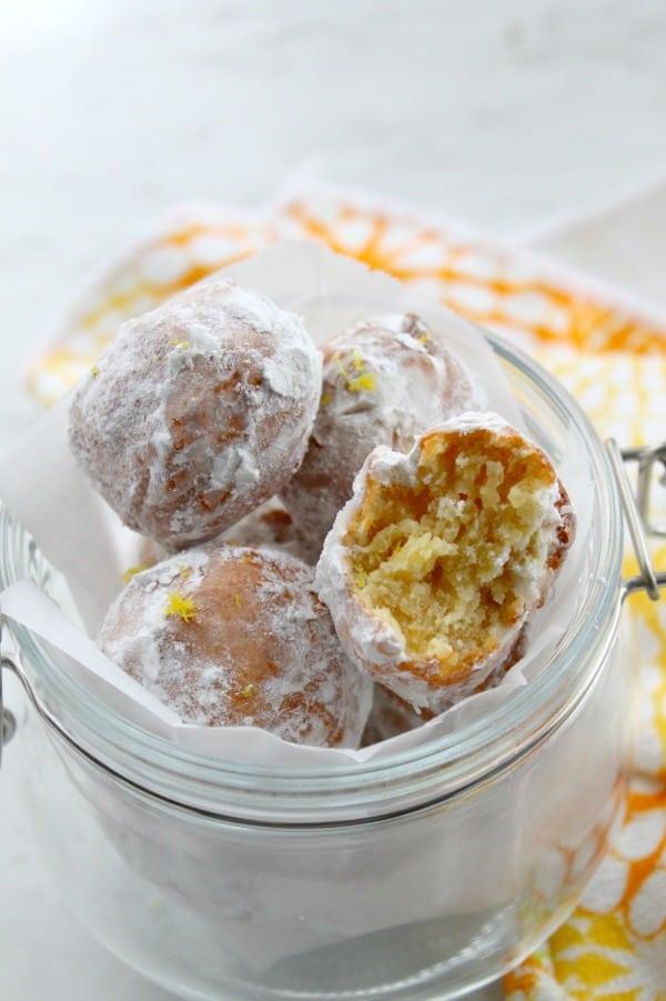 Lemon Donut Holes in glass jar