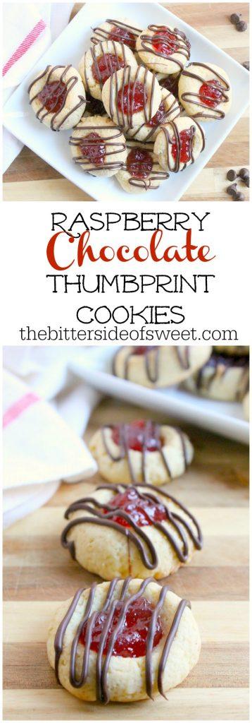 Raspberry Chocolate Thumbprint Cookies | The Bitter Side of Sweet #raspberry #cookies #chocolate #helpingcookies