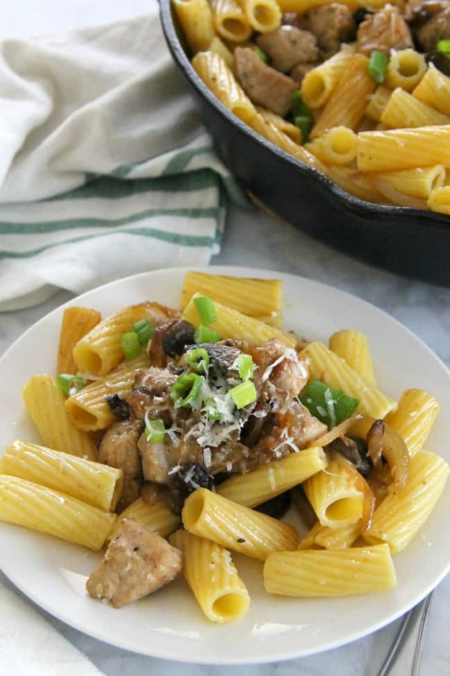 Rigatoni with Pork Onions and Mushrooms