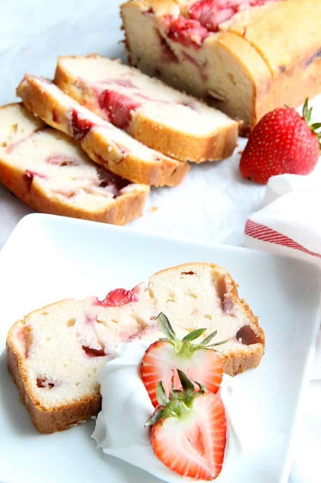Strawberry Sour Cream Pound Cake on a white plate