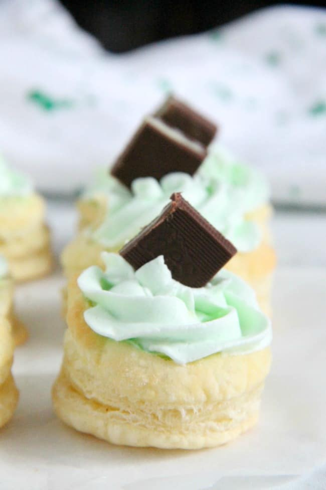 Mint Chocolate Puff Pastry Tartlets on white background