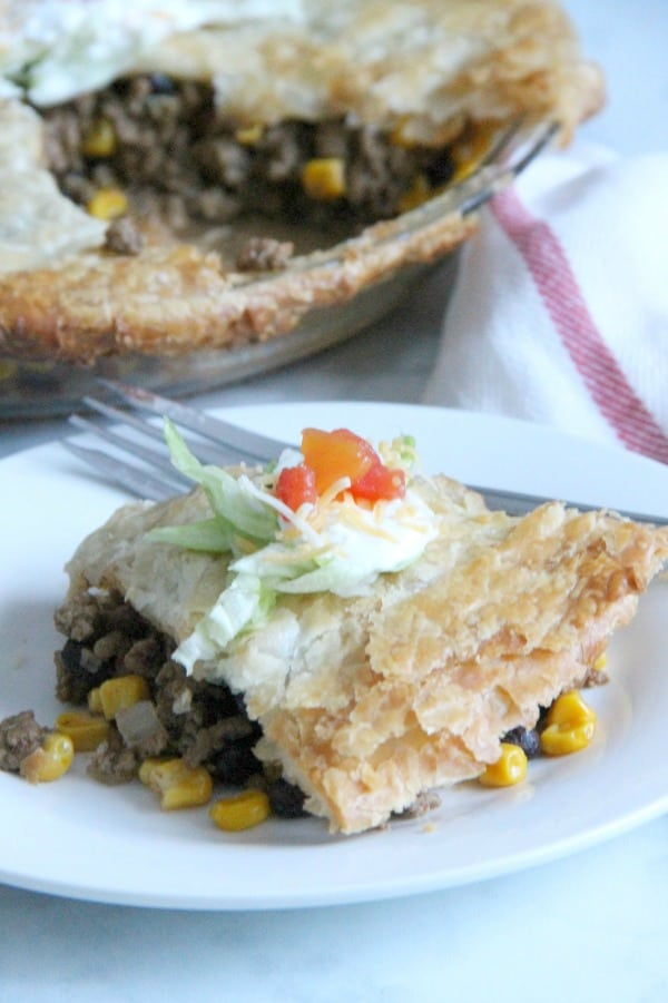 Puff Pastry Taco Pot Pie on white plate
