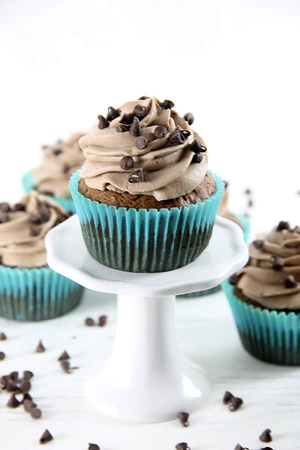 Double Chocolate Cupcakes on white cupcake stand