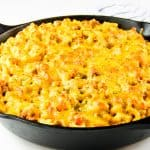Cheesy Macaroni Pasta Bake finished in skillet