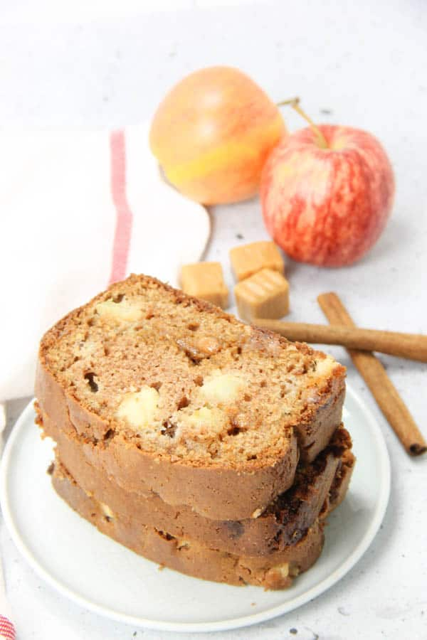 Caramel Apple Bread stacked on white plate