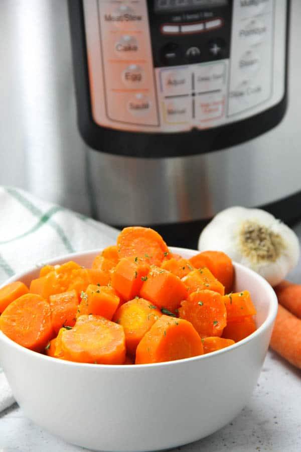 Instant Pot Carrots in gray bowl