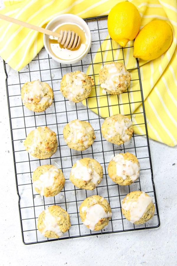 Lemon Chia Muffins on black cooking rack