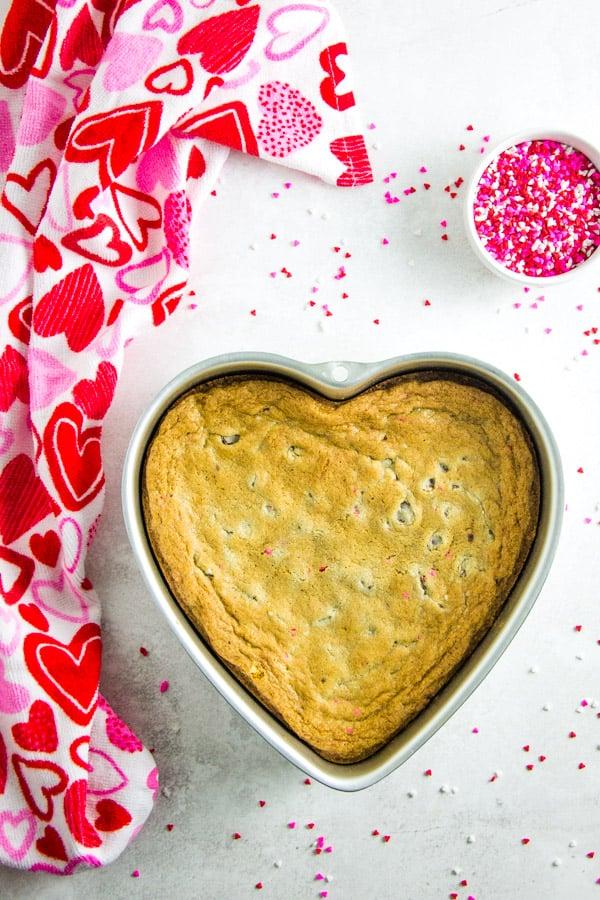 Dark Chocolate Cookie Cake in heart shaped pan