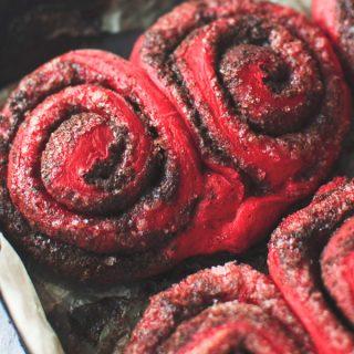 Red Velvet Cinnamon Rolls in pan